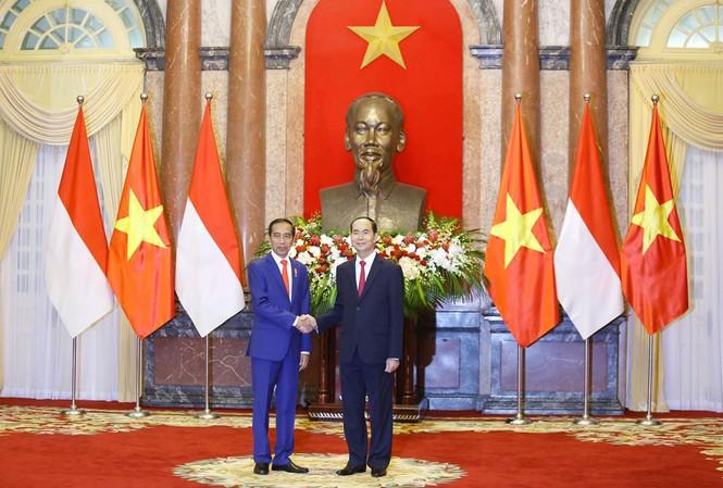Chủ tịch nước Trần Đại Quang và Tổng thống Cộng hòa Indonesia Joko Widodo. Ảnh: Như Ý