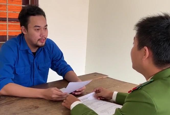 Đối tượng Lê Văn Minh tại cơ quan công an.