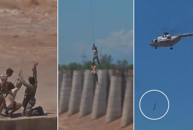 Thót tim cảnh Không quân Ấn Độ cứu hộ người mắc kẹt giữa sông. Ảnh chụp màn hình