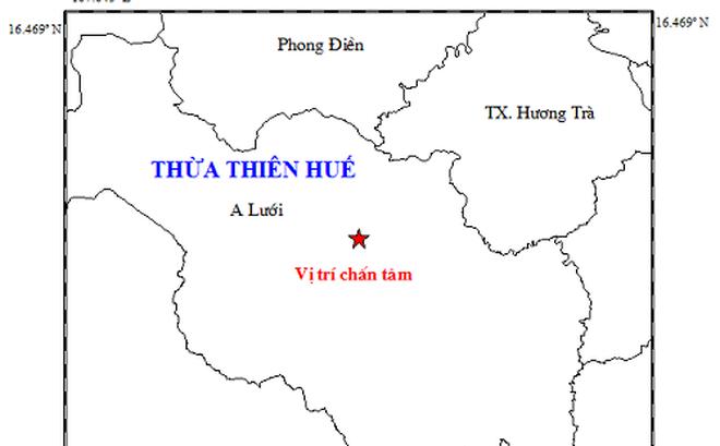 Vị trí tâm chấn nằm ở vùng núi huyện A Lưới