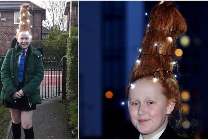 Poppy Leigh muốn để mái tóc của mình như một cây thông Giáng sinh vào tuần cuối cùng ở trường.