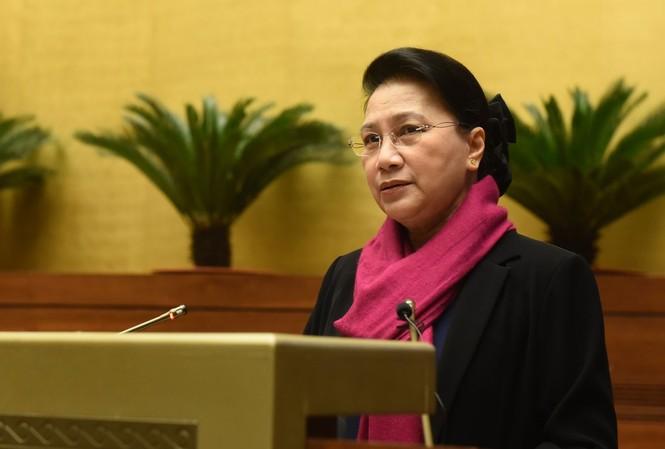 Chủ tịch Quốc hội Nguyễn Thị Kim Ngân phát biểu tại hội nghị . Ảnh QH
