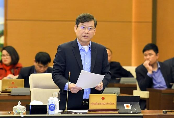 Viện trưởng VKSND tối cao Lê Minh Trí tại phiên họp. Ảnh LH