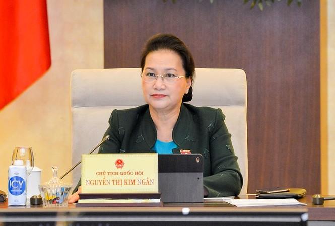 Chủ tịch Quốc hội Nguyễn Thị Kim Ngân tại phiên họp Uỷ ban Thường vụ Quốc hội. Ảnh QH