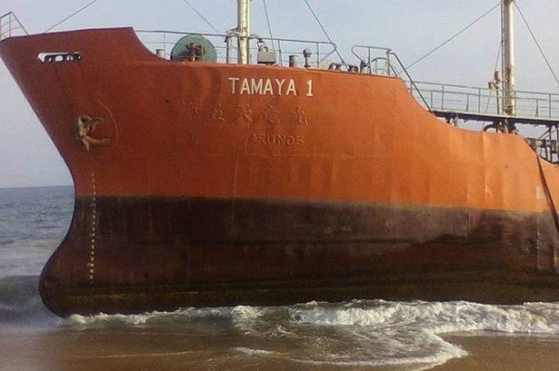 Con tàu ma Tamaya 1 dạt vào bờ.