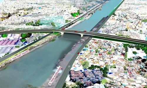 Phối cảnh cầu Nguyễn Khoái bắc qua Kênh Tẻ nối quận 4 và 7.
