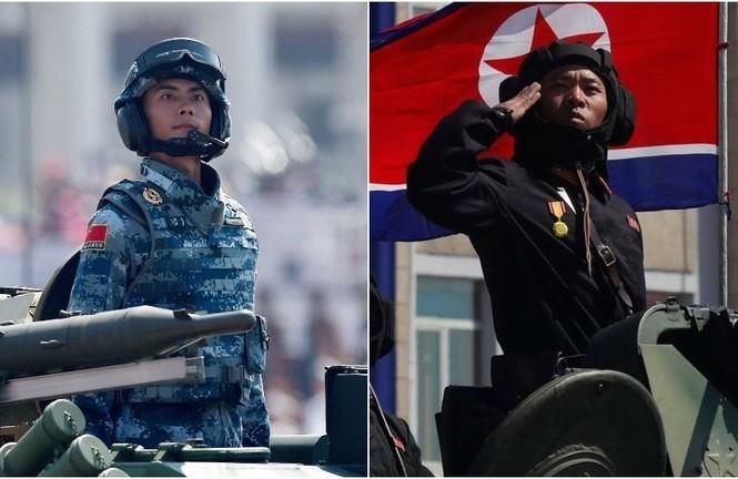 Binh sĩ Trung Quốc (trái) và binh sĩ Triều Tiên (phải). Ảnh: Reuters