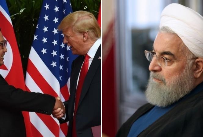 Từ trái sang: Chủ tịch Triều Tiên Kim Jong-un, Tổng thống Mỹ Donald Trump, Tổng thống Iran Hassan Rouhani. Ảnh: Middle East Eye