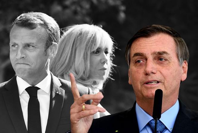 Tổng thống Brazil Jair Bolsonaro (phải) từng chế giễu Tổng thống Pháp Emmanuel Macron và phu nhân trên Facebook. Ảnh: Salon