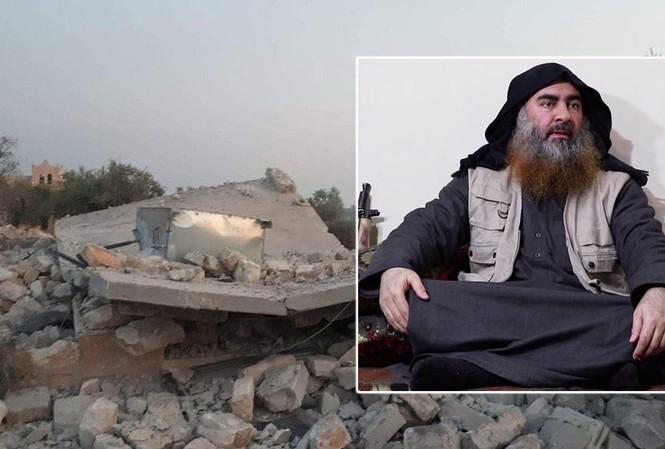 Ảnh lớn: Hiện trường nơi Mỹ tiêu diệt thủ lĩnh IS. Ảnh nhỏ: Thủ lĩnh IS Abu Bakr al-Baghdadi.