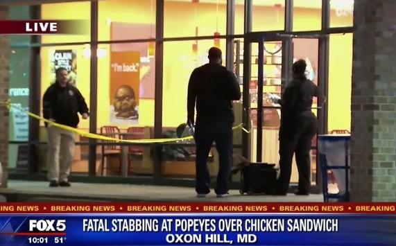 Bên ngoài tiệm gà rán nơi xảy ra vụ ẩu đả tối 4/11. Ảnh chụp màn hình