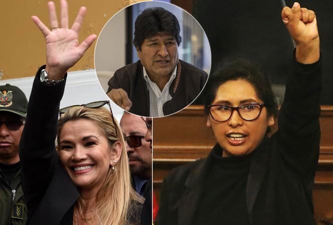 Bà Monica Eva Copa (phải), bà Jeanine Anez (trái), ông Evo Morales (giữa).