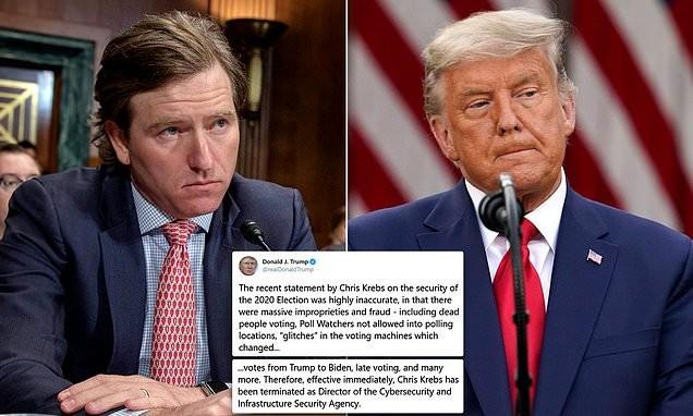 Ông Chris Krebs (ảnh trái), ông Donald Trump (ảnh phải) và dòng Tweet mới nhất của Tổng thống (ảnh giữa).