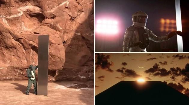 Khối kim loại (bên trái) giống với hình ảnh trong nhiều bộ phim viễn tưởng.