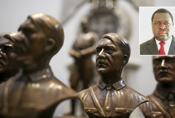 Tượng chân dung trùm phát xít Adolf Hitler (ảnh lớn) và ông Adolf Hitler Uunona (ảnh nhỏ).