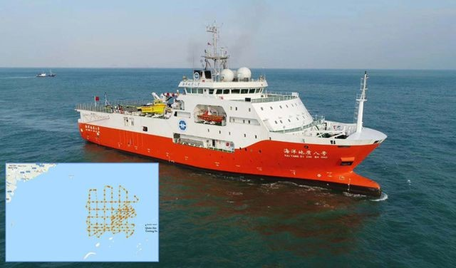 Tàu khảo sát Hải Dương 8 của Trung Quốc xâm phạm vùng đặc quyền kinh tế, thềm lục địa của Việt Nam từ đầu tháng 7. Ảnh: China Geological Survey.