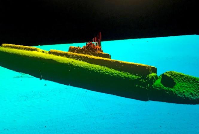 Hình ảnh sonar của tàu ngầm USS Grayback ở độ sâu 427m. Ảnh: Tim Taylor.