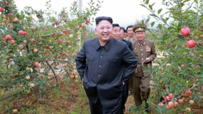 Ông Kim Jong-un đến thăm một nông trại cây ăn quả. Ảnh: Rodong Sinmun
