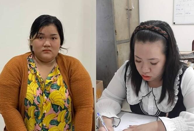 Lê Thị Thu Thảo (trái) và Trần Phạm Ngọc Châu tại cơ quan công an