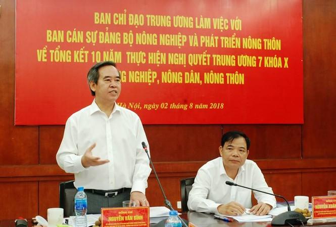 Ủy viên Bộ Chính trị, Bí thư Trung ương Đảng, Trưởng ban Kinh tế Trung tương Nguyễn Văn Bình làm việc với Bộ NN&PTNT về tổng kết 10 năm Nghị quyết về tam nông
