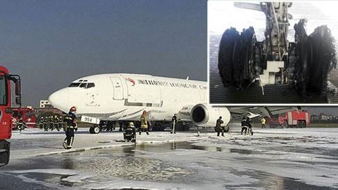 Lốp của chiếc máy bay bị nổ