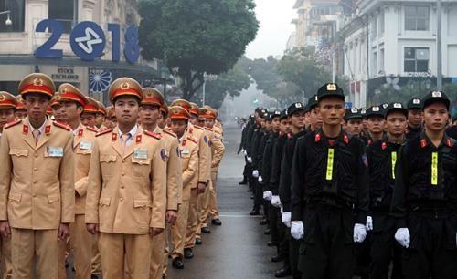 Các lực lượng tham gia lễ phát động