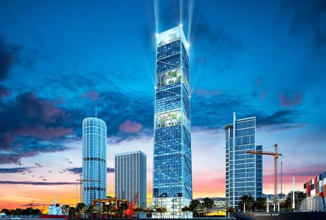 Mô phỏng tổ hợp khách sạn, trung tâm thương mại và văn phòng cho thuê 70 tầng ở Hải Phòng.