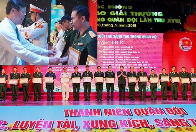 Lãnh đạo Tổng cục Chính trị QĐND Việt Nam và T.Ư Đoàn trao Giải thưởng TTST trong Quân đội lần thứ 18 cho các cá nhân, đơn vị