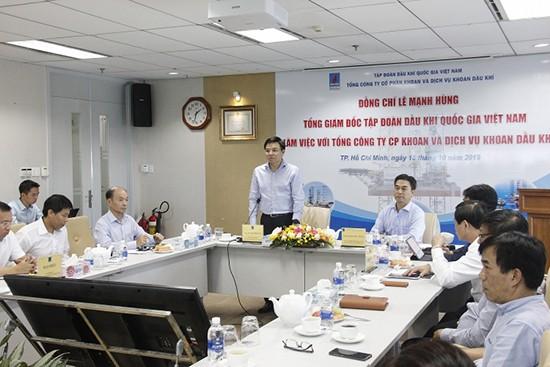 Tổng giám đốc PVN Lê Mạnh Hùng làm việc với PV Drilling