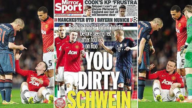 Báo Đức đưa hình ảnh báo Anh bôi nhọ Schweinsteiger. Ảnh: Focus
