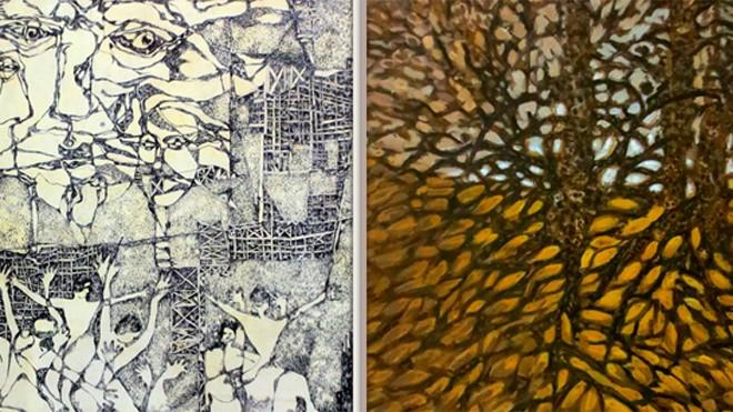 """""""Đất bãi bồi""""- mực nho trên vải của Lý Cao Tấn (trái) và """"Đất Mũi xanh""""- sơn dầu của Dương Minh Chiến"""