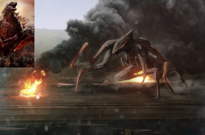 Tạo hình của Godzilla (trái) và quái vật Muto trong phim.