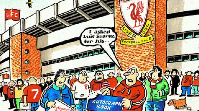 Tranh biếm họa về cầu thủ Suarez: Giờ không cần xin chữ ký của Luis Suarez mà là xin dấu răng (nguồn: internet)