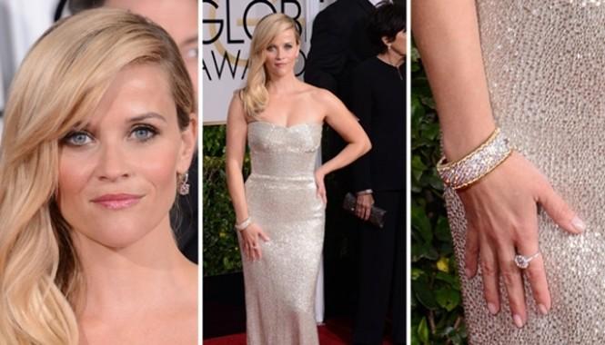 Reese Witherspoon đeo số nữ trang lên tới 1,5 triệu đô la của hãng Tiffany & Co. tới dự lễ trao giải Quả Cầu Vàng 2015.