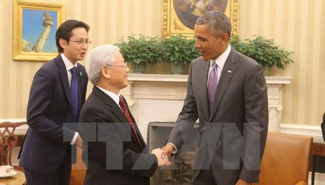 Tổng Bí thư Nguyễn Phú Trọng và Tổng thống Hoa Kỳ Barack Obama đã có cuộc hội đàm chính thức tại tại phòng Bầu dục ở Nhà Trắng. Ảnh: Trí Dũng/TTXVN.