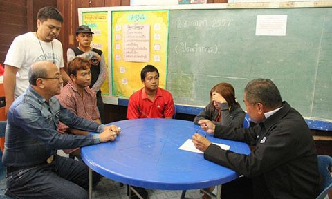 .Cô giáo Supaporn Buapetch (thứ hai bên phải) cùng chồng (áo đỏ) và thầy Apichart Sornnucha (ngồi thứ hai bên trái) đang bị cảnh sát thẩm vấn ngay tại trường học.  Ảnh: Bangkok Post.