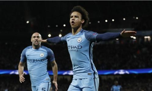 Leroy Sane ghi bàn thắng ấn định tỷ số giúp Man City có lợi thế dẫn hai bàn trước Monaco. Ảnh: Reuters.