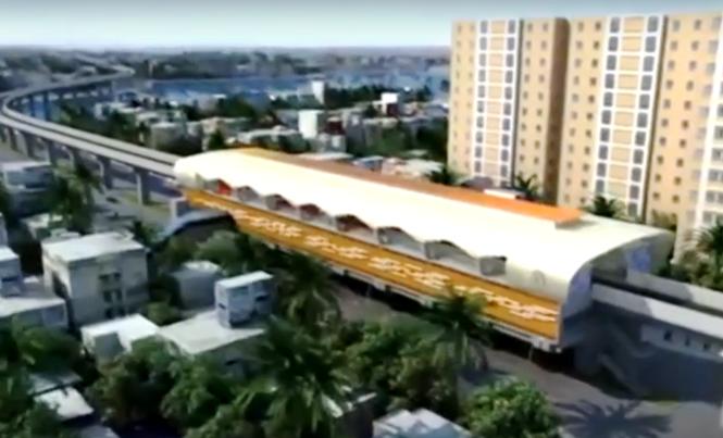 Mô hình mô phỏng nhà ga Cát Linh - Hà Đông.