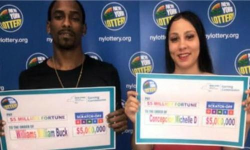William Williams, 24 tuổi và Michelle Concepcion nhận giải độc đắc 5 triệu USD. Ảnh: New York Lottery.
