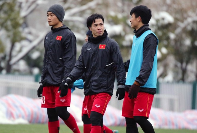 Công Phượng ở buổi tập chiều 26/1 của đội tuyển U23 Việt Nam tại Thường Châu, Trung Quốc.