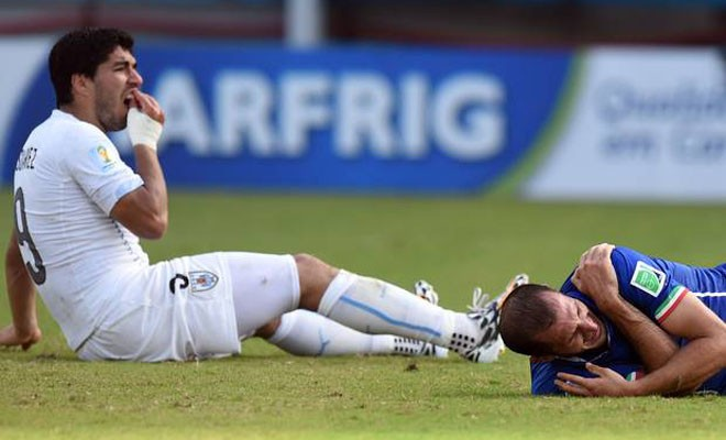 CĐV thắng độ lớn vì... Suarez cắn Chiellini