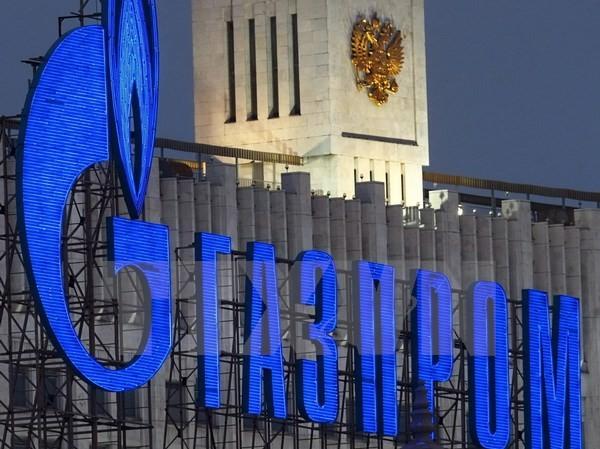 Logo của Tập đoàn khí đốt Gazprom tại thủ đô Moskva, Nga ngày 1/1/2009. (Nguồn: EPA/TTXVN)