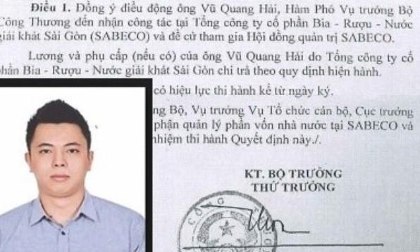 Ông Vũ Quang Hải và quyết định điều động về làm thành viên HĐQT đại diện cho cổ phần nhà nước, đồng thời kiêm chức Phó tổng giám đốc Tổng Cty Bia rượu, nước giải khát Sài Gòn (Sabeco) hồi đầu năm 2015.
