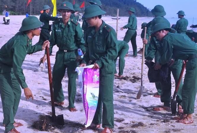 Tuổi trẻ bộ đội Biên phòng TT-Huế cùng đoàn viên thanh niên địa phương tham gia làm vệ sinh, giữ gìn bờ biển sạch đẹp.