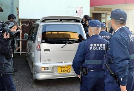 Chiếc xe chở khách mini của nghi phạm Kyoshige Shibuya. Ảnh: Kyodo