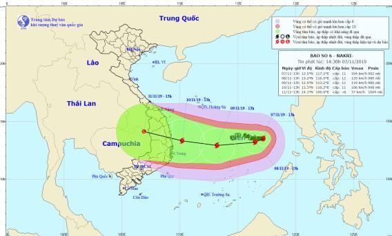 Vị trí và đường đi của bão số 6. Ảnh: TTDBKTTVQG