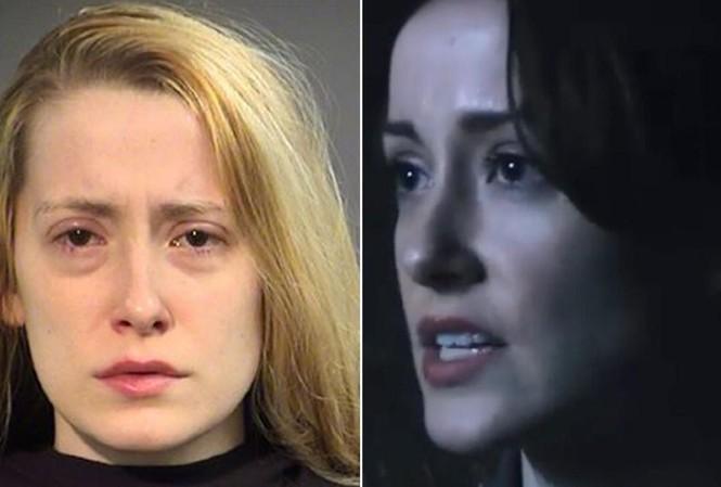 Nữ diễn viên Aisling Tucker Moore-Reed ngoài đời và trong phim (phải).