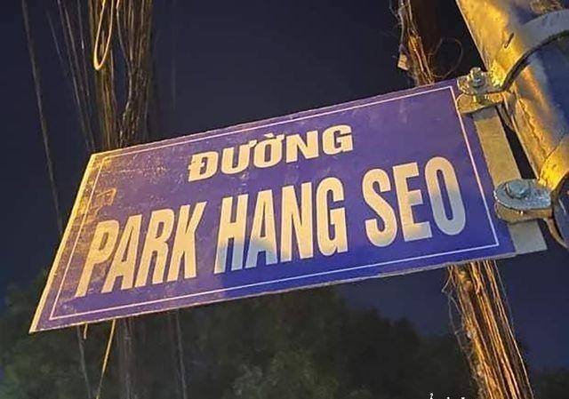 """Biển """"Đường Park Hang Seo"""" do người dân tự ý gắn tại Sài Gòn. Ảnh: Internet"""