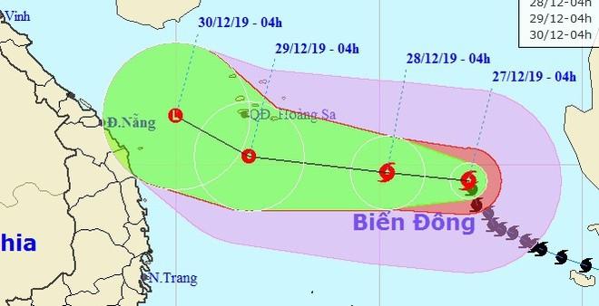 Dự báo đường đi của bão Phanfone trên Biển Đông trong những ngày tới. Ảnh: NCHMF.
