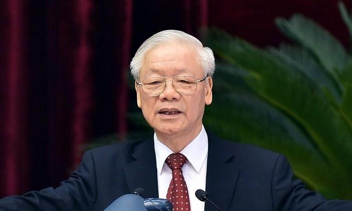 Tổng Bí thư Nguyễn Phú Trọng phát biểu tại Hội nghị T.Ư 4 khóa XIII. Ảnh Nhật Minh